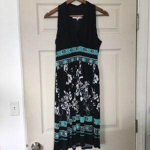 Evan Picone black floral sleeveless dress Size 12P